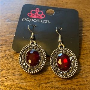Paparazzi red and silver long earrings
